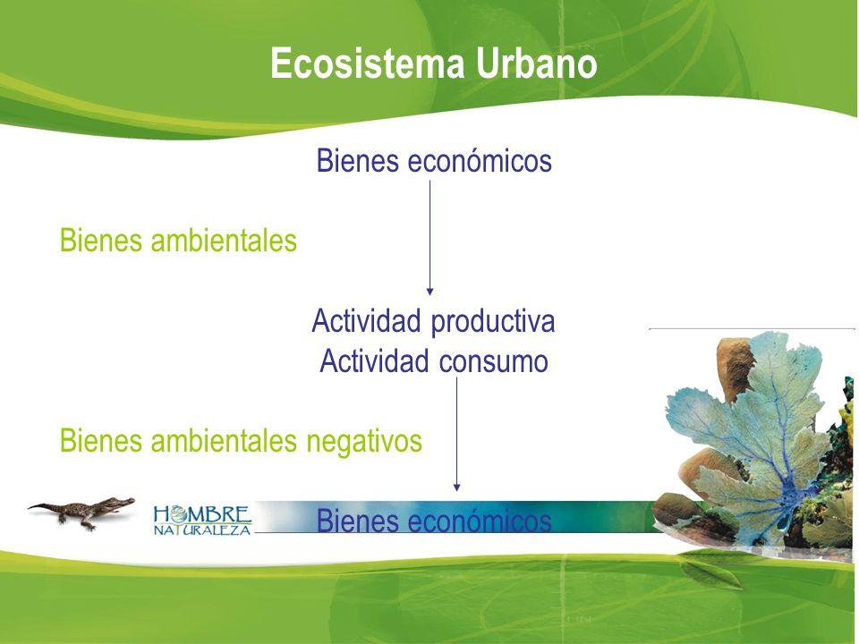 Ecosistema Urbano Bienes económicos Bienes ambientales Actividad productiva Actividad consumo Bienes ambientales negativos Bienes económicos