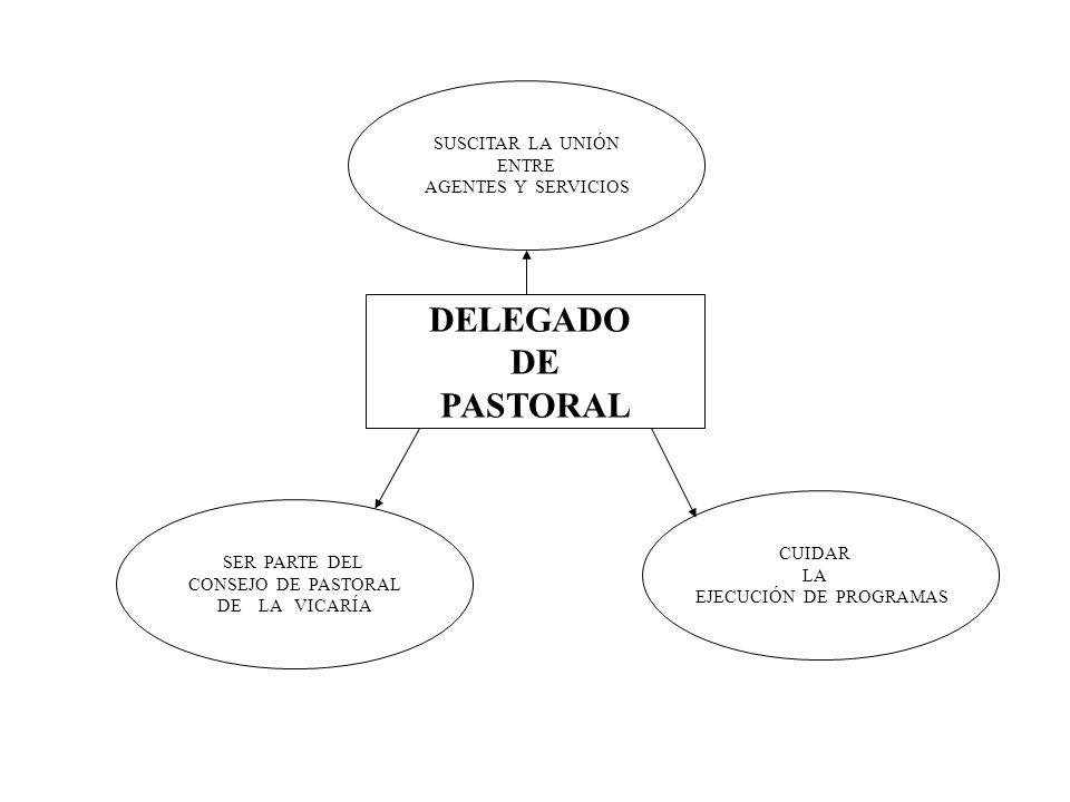 DELEGADO DE PASTORAL SUSCITAR LA UNIÓN ENTRE AGENTES Y SERVICIOS CUIDAR LA EJECUCIÓN DE PROGRAMAS SER PARTE DEL CONSEJO DE PASTORAL DE LA VICARÍA