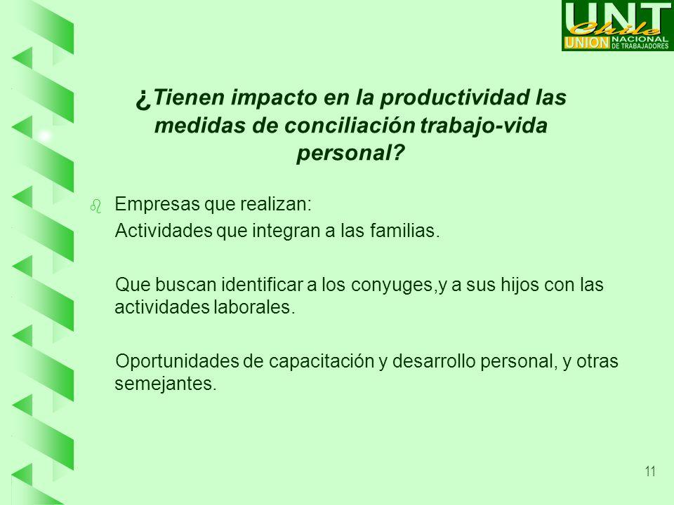 11 ¿ Tienen impacto en la productividad las medidas de conciliación trabajo-vida personal.
