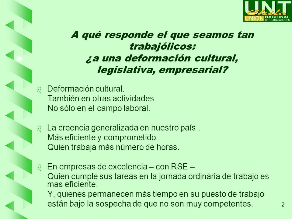 2 A qué responde el que seamos tan trabajólicos: ¿a una deformación cultural, legislativa, empresarial.
