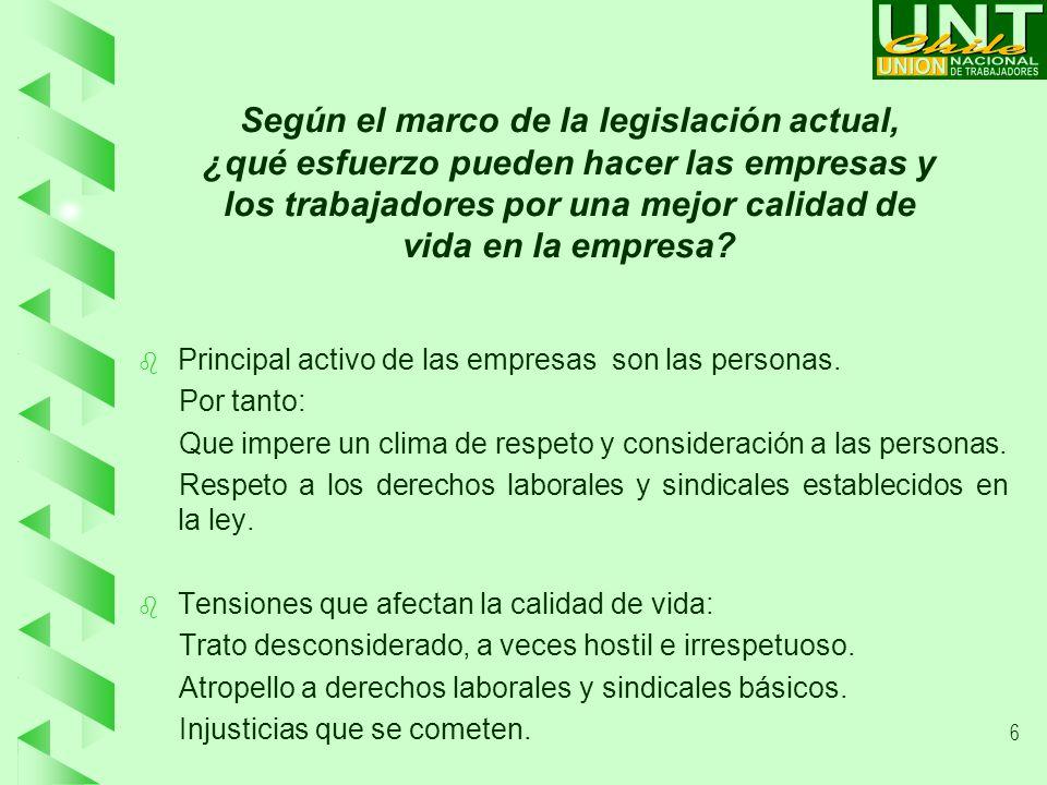 6 Según el marco de la legislación actual, ¿qué esfuerzo pueden hacer las empresas y los trabajadores por una mejor calidad de vida en la empresa.