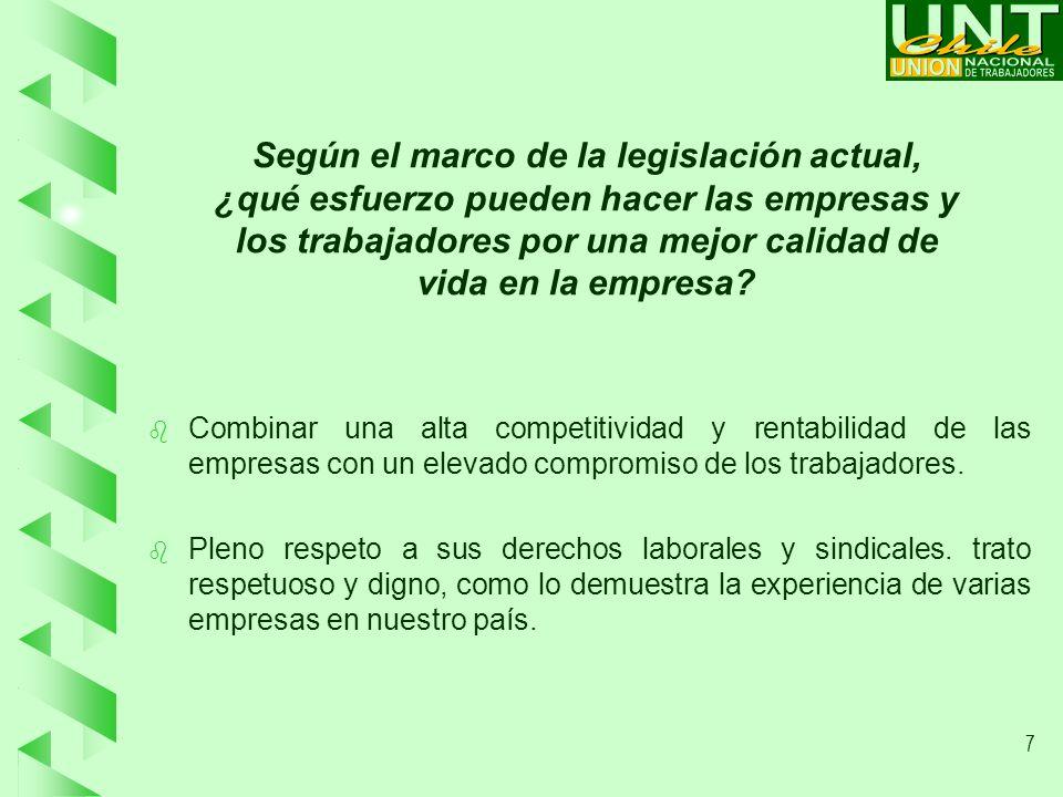 7 Según el marco de la legislación actual, ¿qué esfuerzo pueden hacer las empresas y los trabajadores por una mejor calidad de vida en la empresa.