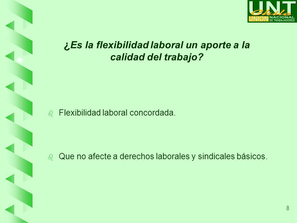 8 ¿ Es la flexibilidad laboral un aporte a la calidad del trabajo.