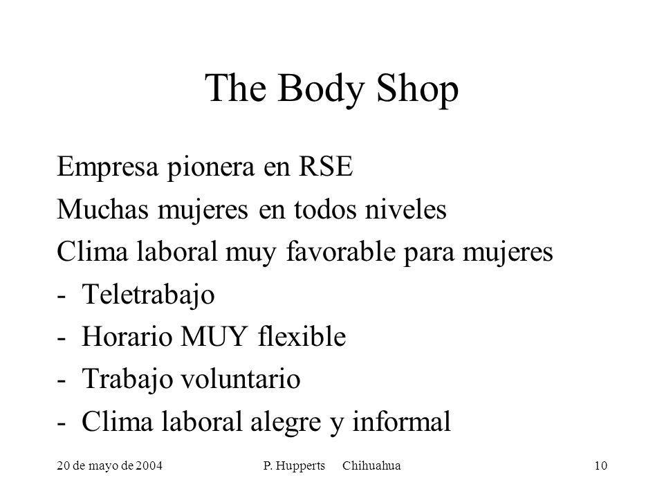 20 de mayo de 2004P. Hupperts Chihuahua10 The Body Shop Empresa pionera en RSE Muchas mujeres en todos niveles Clima laboral muy favorable para mujere