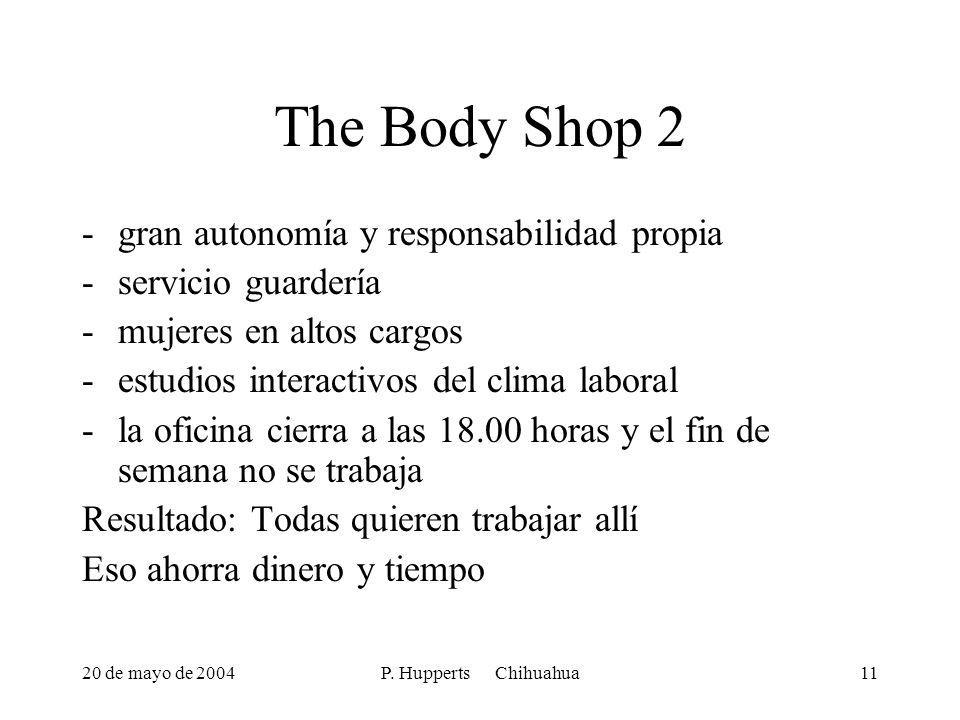 20 de mayo de 2004P. Hupperts Chihuahua11 The Body Shop 2 -gran autonomía y responsabilidad propia -servicio guardería -mujeres en altos cargos -estud