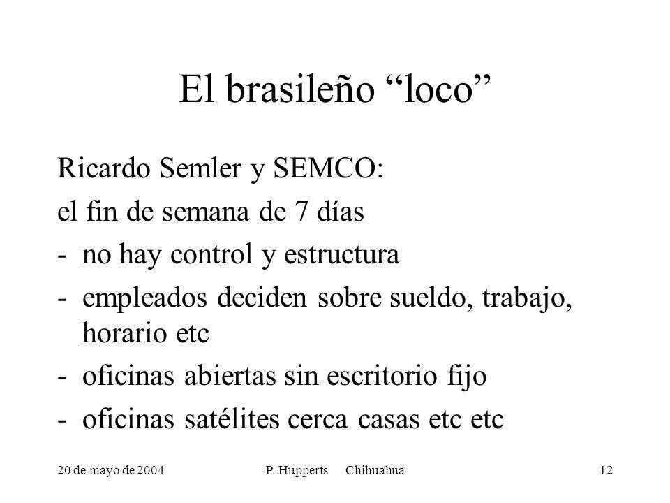 20 de mayo de 2004P. Hupperts Chihuahua12 El brasileño loco Ricardo Semler y SEMCO: el fin de semana de 7 días -no hay control y estructura -empleados