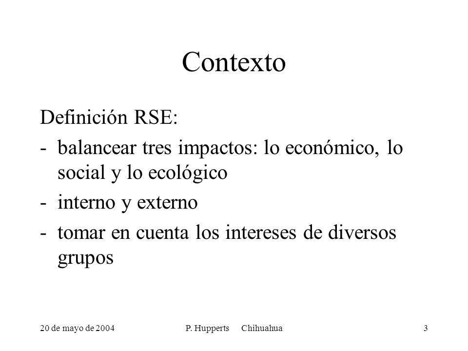 20 de mayo de 2004P. Hupperts Chihuahua3 Contexto Definición RSE: -balancear tres impactos: lo económico, lo social y lo ecológico -interno y externo
