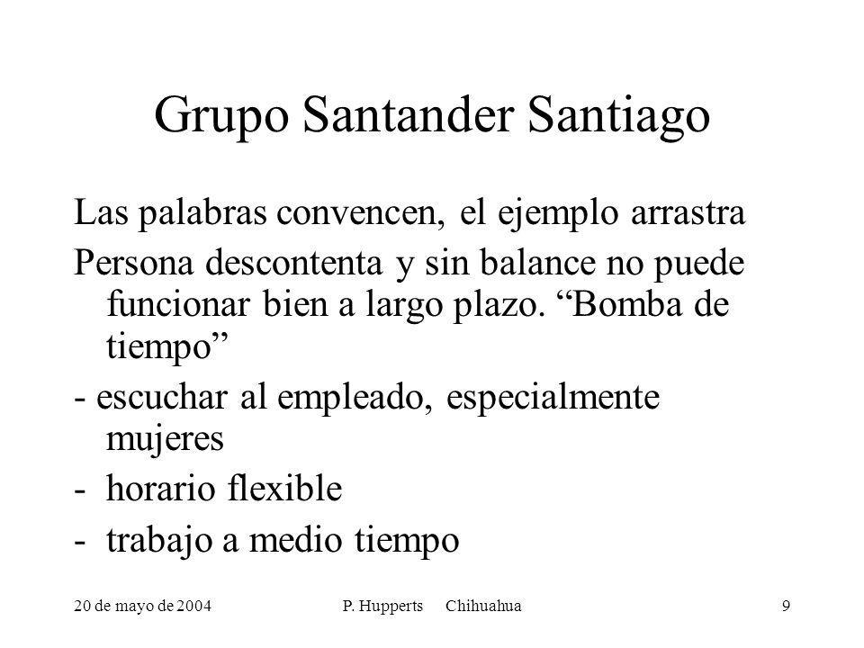 20 de mayo de 2004P. Hupperts Chihuahua9 Grupo Santander Santiago Las palabras convencen, el ejemplo arrastra Persona descontenta y sin balance no pue