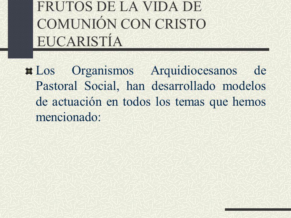 FRUTOS DE LA VIDA DE COMUNIÓN CON CRISTO EUCARISTÍA Los Organismos Arquidiocesanos de Pastoral Social, han desarrollado modelos de actuación en todos