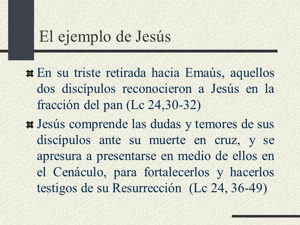 El ejemplo de Jesús En su triste retirada hacia Emaús, aquellos dos discípulos reconocieron a Jesús en la fracción del pan (Lc 24,30-32) Jesús compren