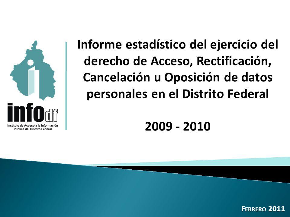 Total de solicitudes ARCO de datos personales, 2009-2010: 5,768 12 Incremento 2009-2010: 18.5% 2.1.1 Solicitudes de acceso, rectificación, cancelación u oposición de datos personales recibidas 2009 - 2010