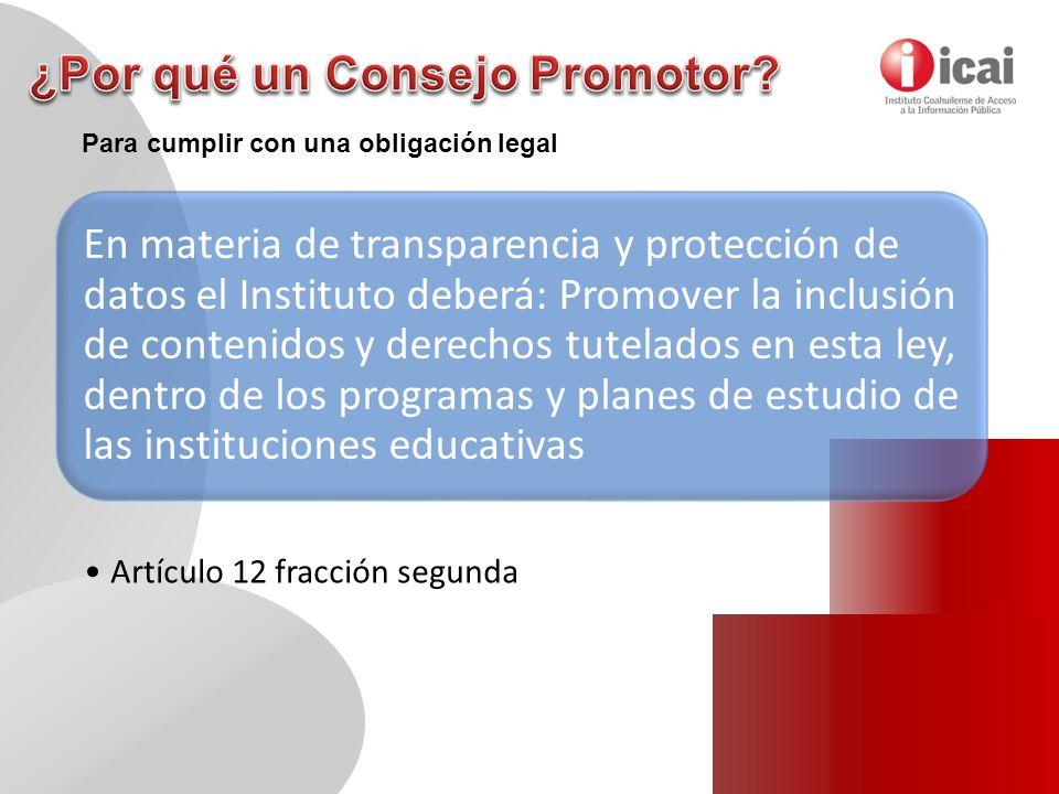 En materia de transparencia y protección de datos el Instituto deberá: Promover la inclusión de contenidos y derechos tutelados en esta ley, dentro de los programas y planes de estudio de las instituciones educativas Artículo 12 fracción segunda Para cumplir con una obligación legal