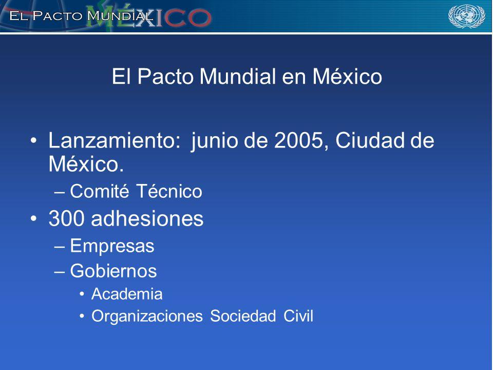 El Pacto Mundial en México Lanzamiento: junio de 2005, Ciudad de México.