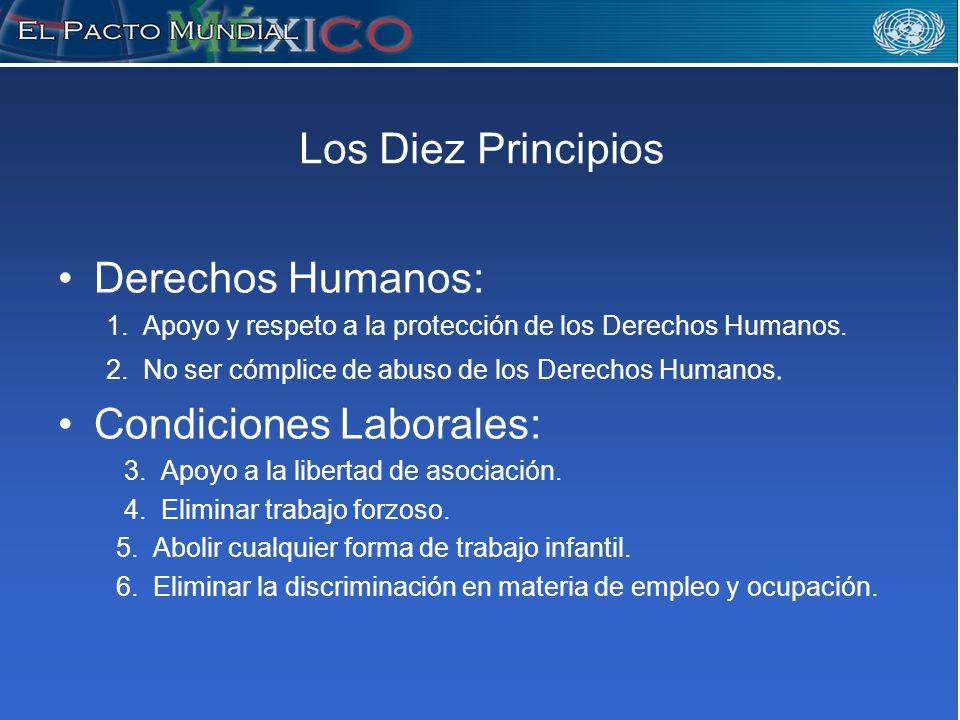 Los Diez Principios Derechos Humanos: 1. Apoyo y respeto a la protección de los Derechos Humanos.