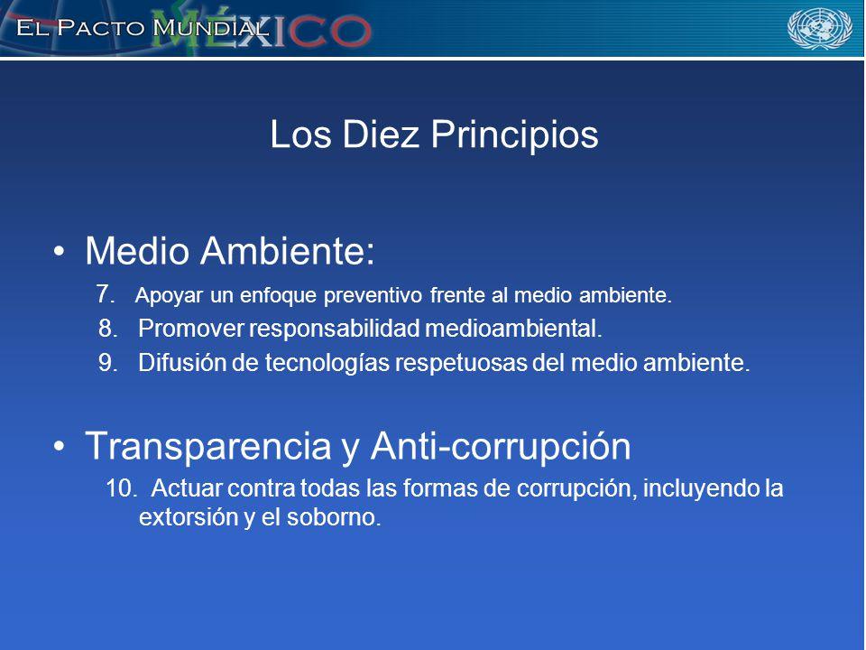 Los Diez Principios Medio Ambiente: 7. Apoyar un enfoque preventivo frente al medio ambiente.
