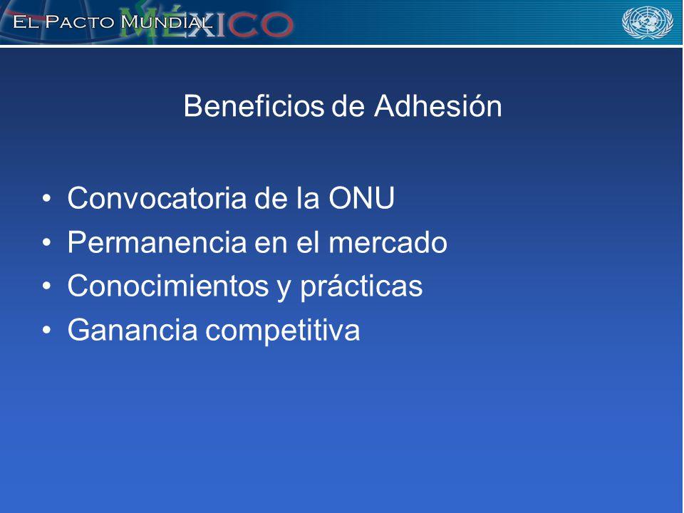 Beneficios de Adhesión Convocatoria de la ONU Permanencia en el mercado Conocimientos y prácticas Ganancia competitiva