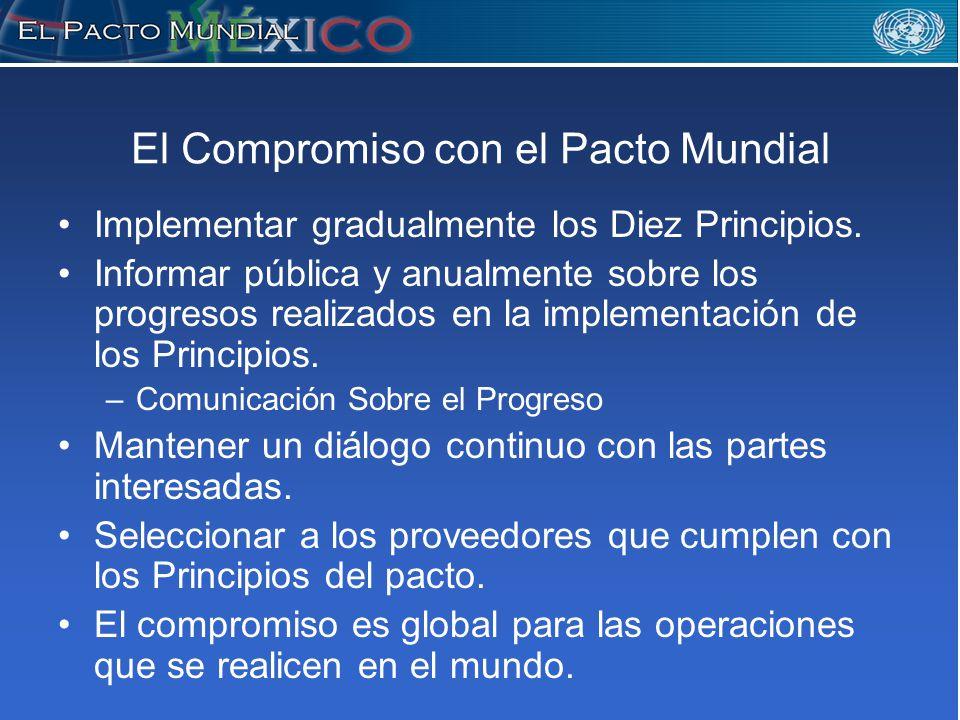 El Compromiso con el Pacto Mundial Implementar gradualmente los Diez Principios.