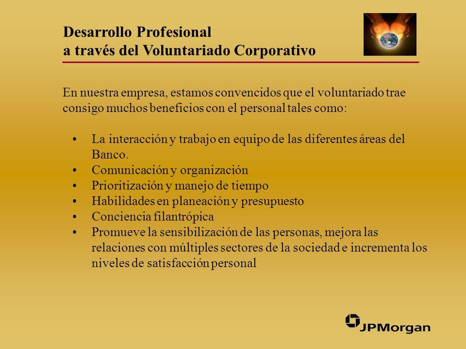 Desarrollo Profesional a través del Voluntariado Corporativo En nuestra empresa, estamos convencidos que el voluntariado trae consigo muchos beneficios con el personal tales como: La interacción y trabajo en equipo de las diferentes áreas del Banco.