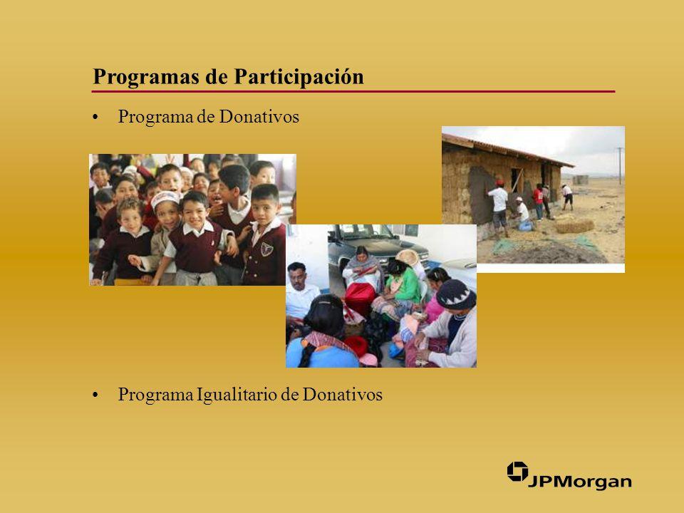 Programas de Participación Programa de Donativos Programa Igualitario de Donativos