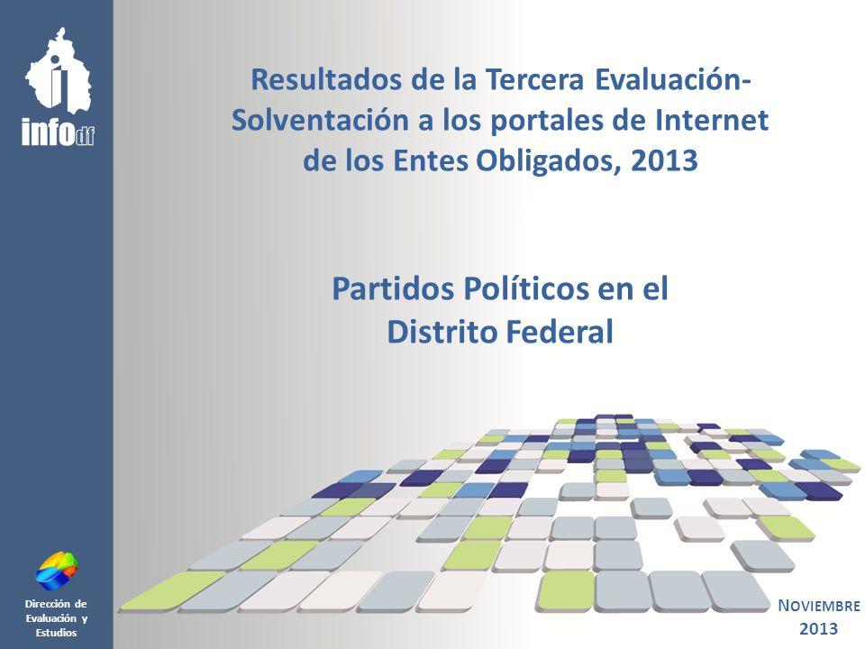 O B J E T I V O 2 De conformidad con lo establecido en el Artículo 71, fracción VIII y XI de la Ley de Transparencia y Acceso a la Información Pública del Distrito Federal (LTAIPDF); y del Artículo 23, fracción V del Reglamento Interior del InfoDF; así como en cumplimiento del Programa Operativo Anual 2013 del InfoDF, se presentan los resultados de la Tercera Evaluación-Solventación 2013 de la información de oficio publicada en los portales de transparencia de los Partidos Políticos en el Distrito Federal, realizada durante el mes de octubre, mediante la cual se verificó la solventación a las recomendaciones emitidas en la Segunda Evaluación 2013.