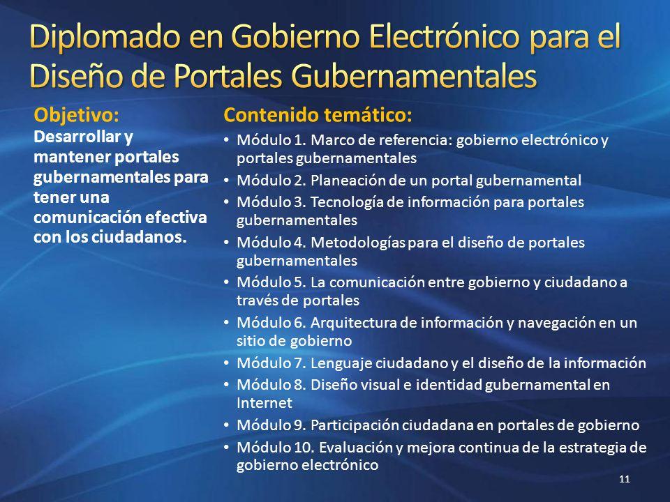Objetivo: Desarrollar y mantener portales gubernamentales para tener una comunicación efectiva con los ciudadanos. Contenido temático: Módulo 1. Marco