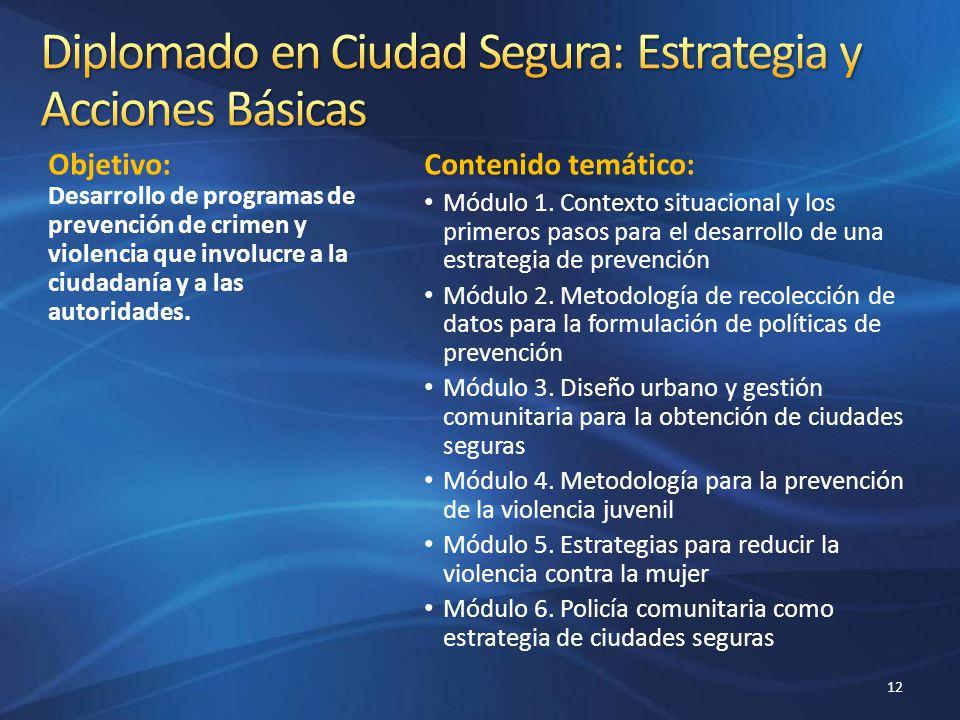 Objetivo: Desarrollo de programas de prevención de crimen y violencia que involucre a la ciudadanía y a las autoridades. Contenido temático: Módulo 1.
