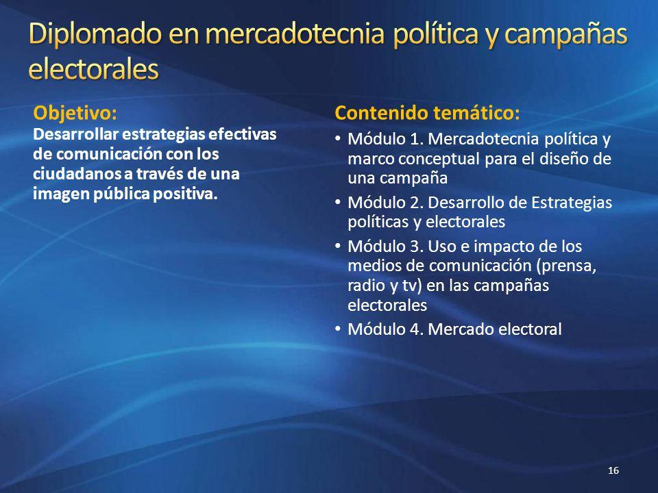 Objetivo: Desarrollar estrategias efectivas de comunicación con los ciudadanos a través de una imagen pública positiva. Contenido temático: Módulo 1.