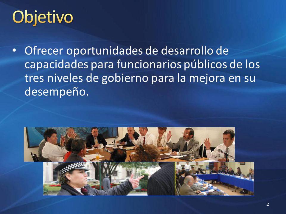 Ofrecer oportunidades de desarrollo de capacidades para funcionarios públicos de los tres niveles de gobierno para la mejora en su desempeño. 2