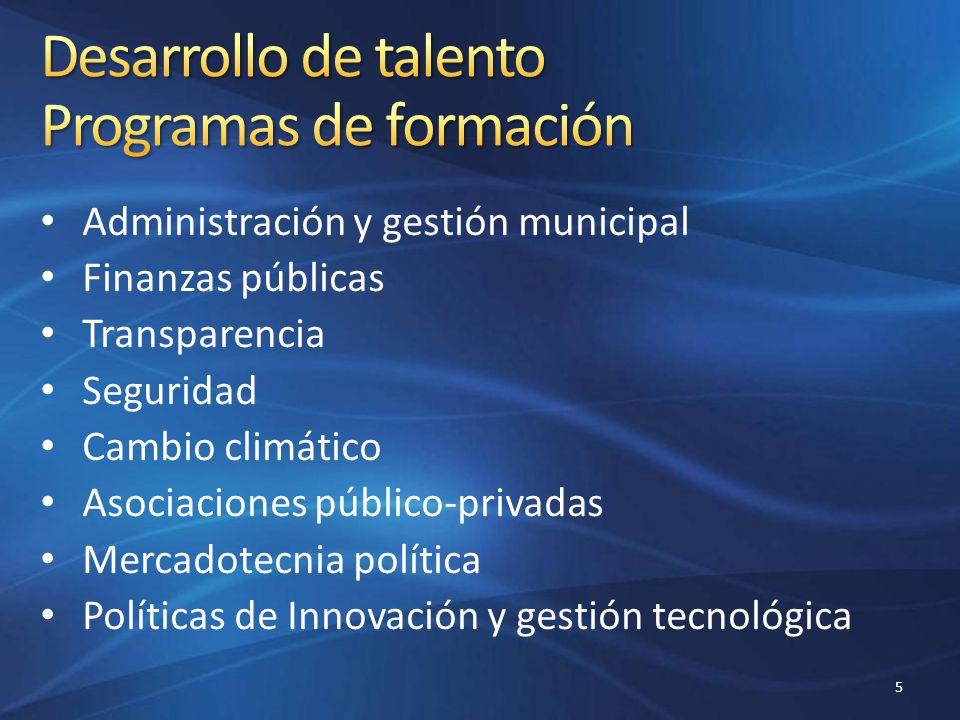 Administración y gestión municipal Finanzas públicas Transparencia Seguridad Cambio climático Asociaciones público-privadas Mercadotecnia política Pol