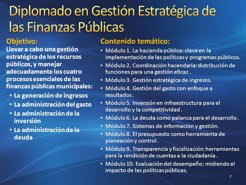 Objetivo: Llevar a cabo una gestión estratégica de los recursos públicos, y manejar adecuadamente los cuatro procesos esenciales de las finanzas públi