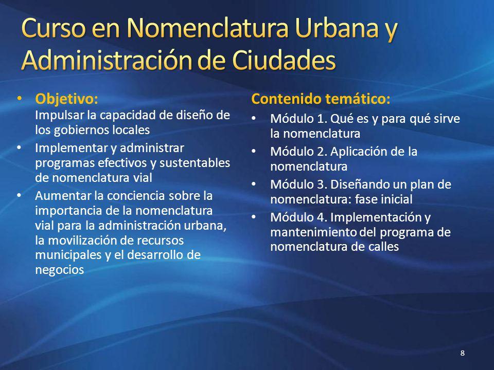 Objetivo: Impulsar la capacidad de diseño de los gobiernos locales Implementar y administrar programas efectivos y sustentables de nomenclatura vial A