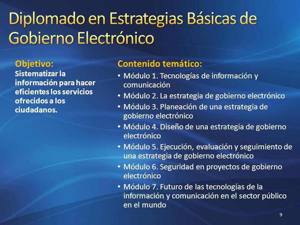 Objetivo: Sistematizar la información para hacer eficientes los servicios ofrecidos a los ciudadanos. Contenido temático: Módulo 1. Tecnologías de inf