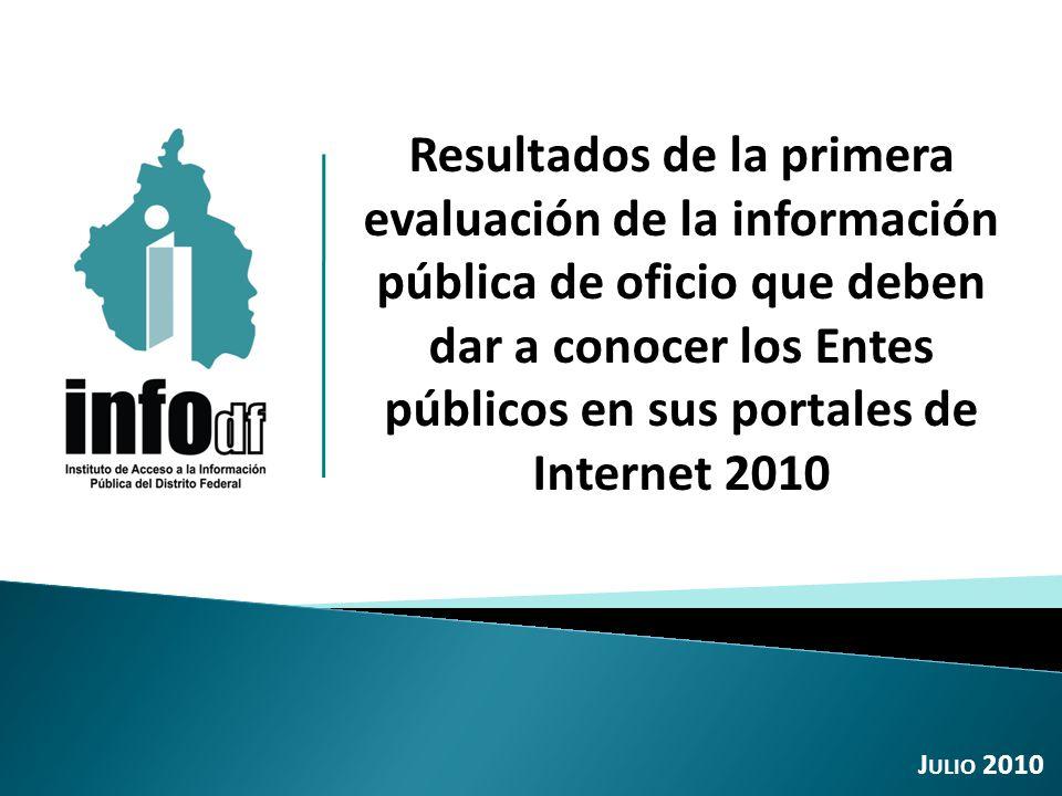 Resultados de la primera evaluación de la información pública de oficio que deben dar a conocer los Entes públicos en sus portales de Internet 2010 J ULIO 2010