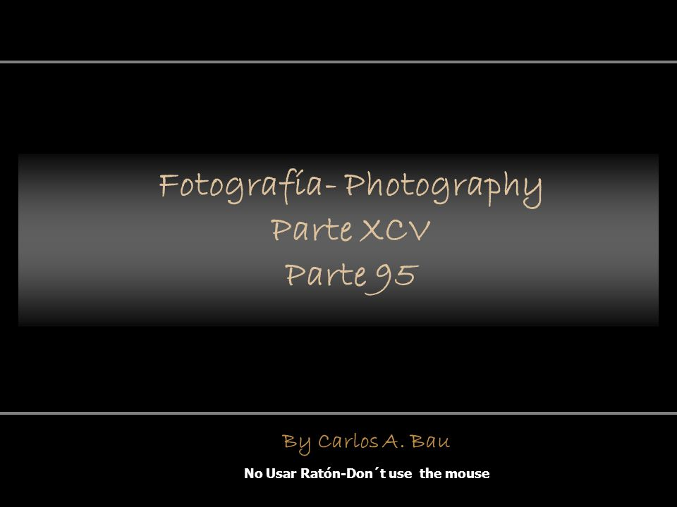 Fotografía- Photography Parte XCV Parte 95 No Usar Ratón-Don´t use the mouse By Carlos A. Bau