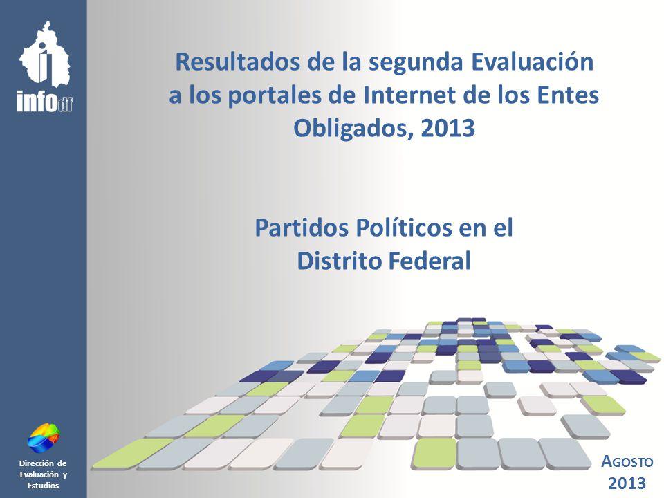 Dirección de Evaluación y Estudios Resultados de la segunda Evaluación a los portales de Internet de los Entes Obligados, 2013 Partidos Políticos en el Distrito Federal A GOSTO 2013