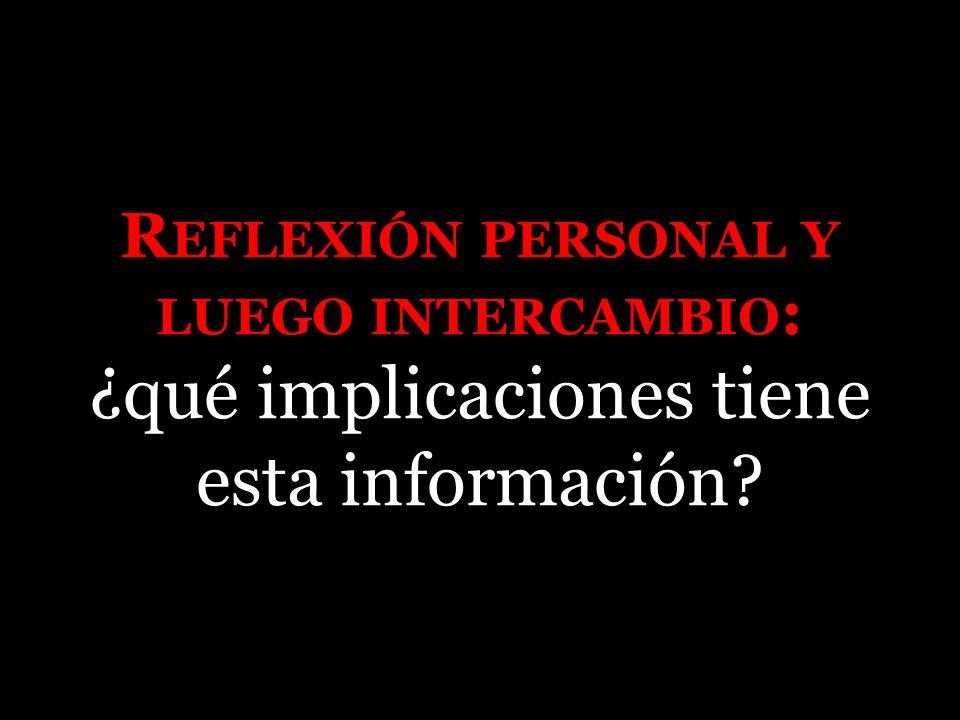 R EFLEXIÓN PERSONAL Y LUEGO INTERCAMBIO : ¿qué implicaciones tiene esta información
