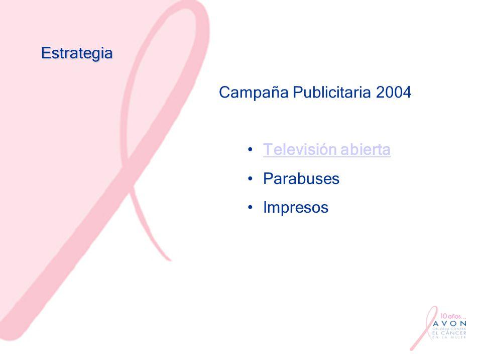 Estrategia Campaña Publicitaria 2004 Televisión abierta Parabuses Impresos