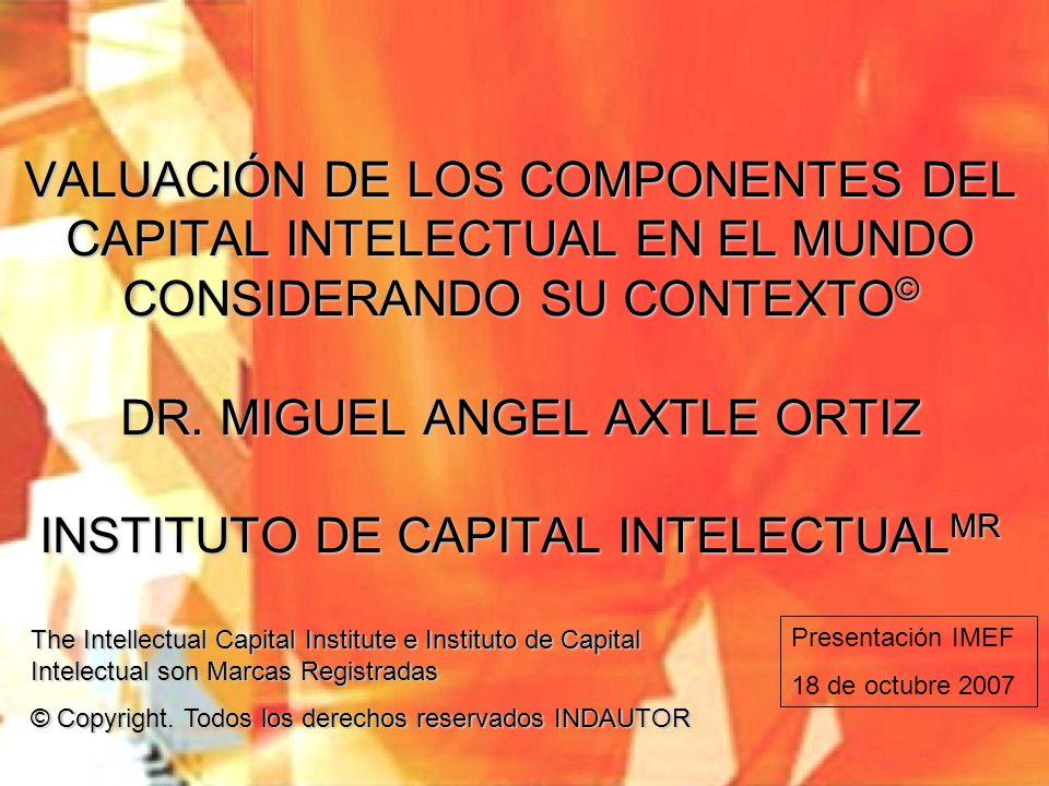 VALUACIÓN DE LOS COMPONENTES DEL CAPITAL INTELECTUAL EN EL MUNDO CONSIDERANDO SU CONTEXTO © DR. MIGUEL ANGEL AXTLE ORTIZ INSTITUTO DE CAPITAL INTELECT