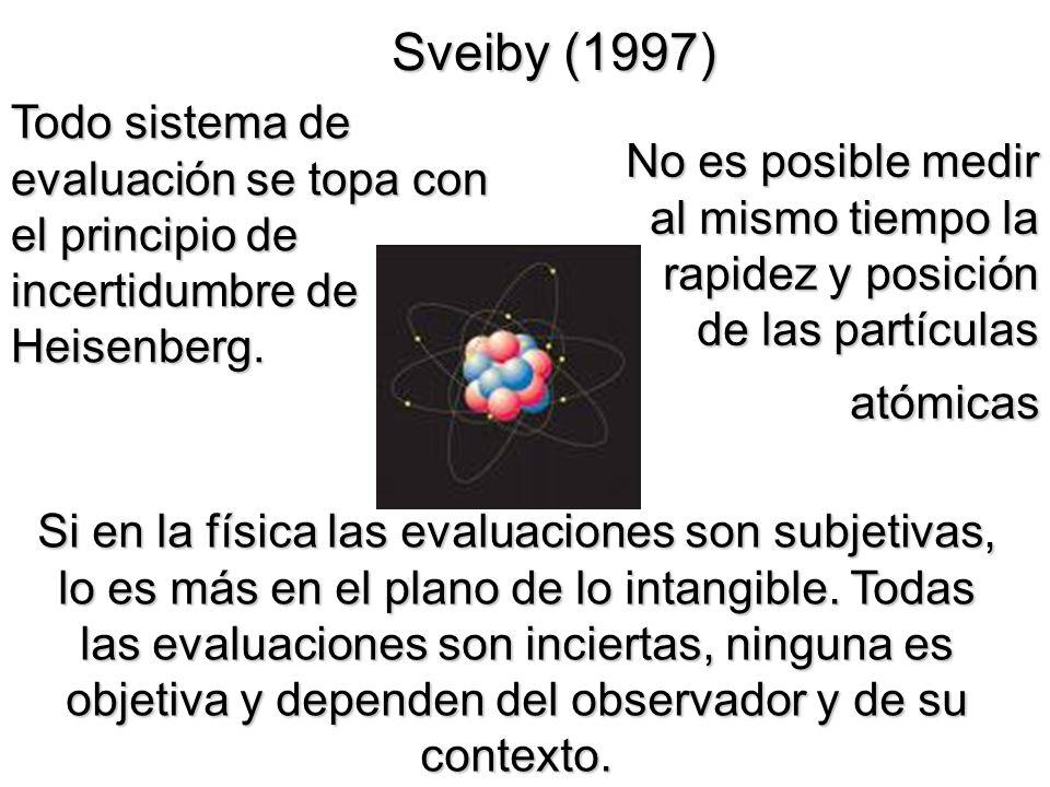 Sveiby (1997) Si en la física las evaluaciones son subjetivas, lo es más en el plano de lo intangible. Todas las evaluaciones son inciertas, ninguna e