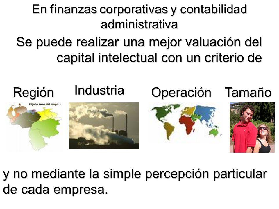 En finanzas corporativas y contabilidad administrativa Se puede realizar una mejor valuación del capital intelectual con un criterio de Región Industr