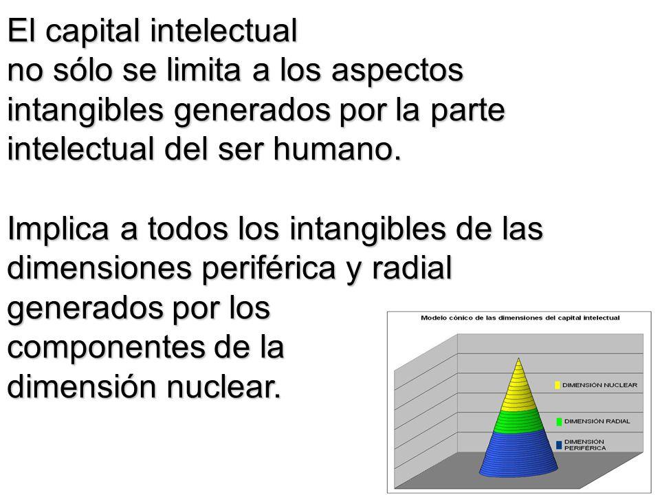 El capital intelectual no sólo se limita a los aspectos intangibles generados por la parte intelectual del ser humano. Implica a todos los intangibles