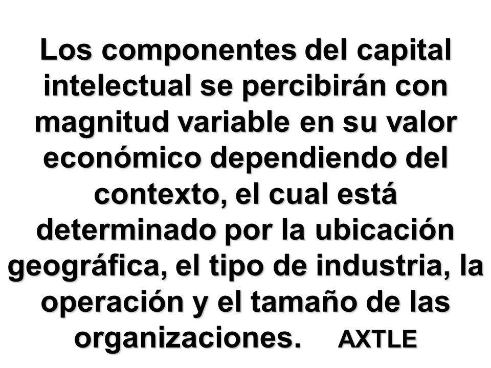 Los componentes del capital intelectual se percibirán con magnitud variable en su valor económico dependiendo del contexto, el cual está determinado p