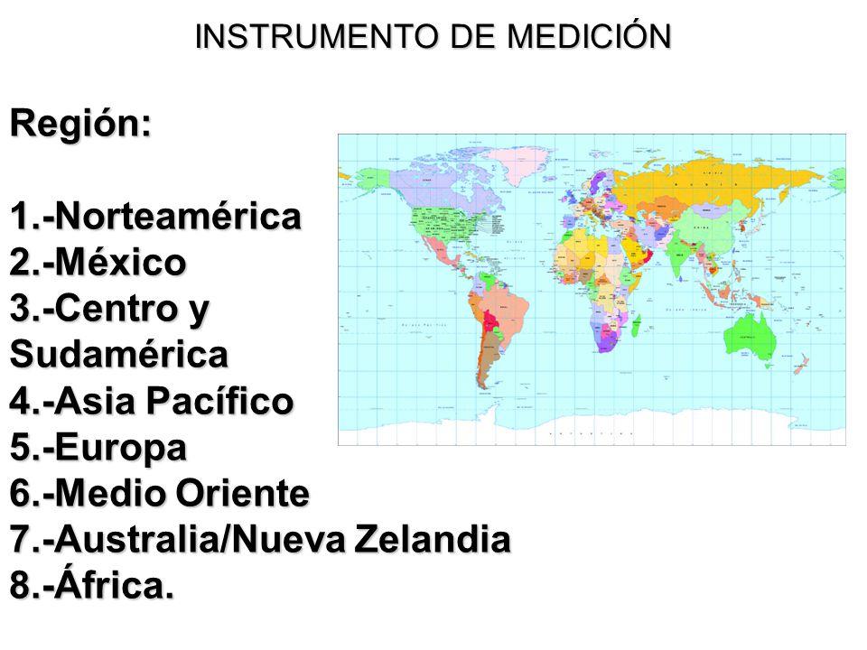 INSTRUMENTO DE MEDICIÓN Región:1.-Norteamérica2.-México 3.-Centro y Sudamérica 4.-Asia Pacífico 5.-Europa 6.-Medio Oriente 7.-Australia/Nueva Zelandia