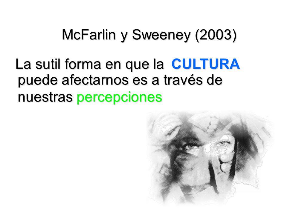 McFarlin y Sweeney (2003) CULTURA La sutil forma en que la puede afectarnos es a través de nuestras percepciones