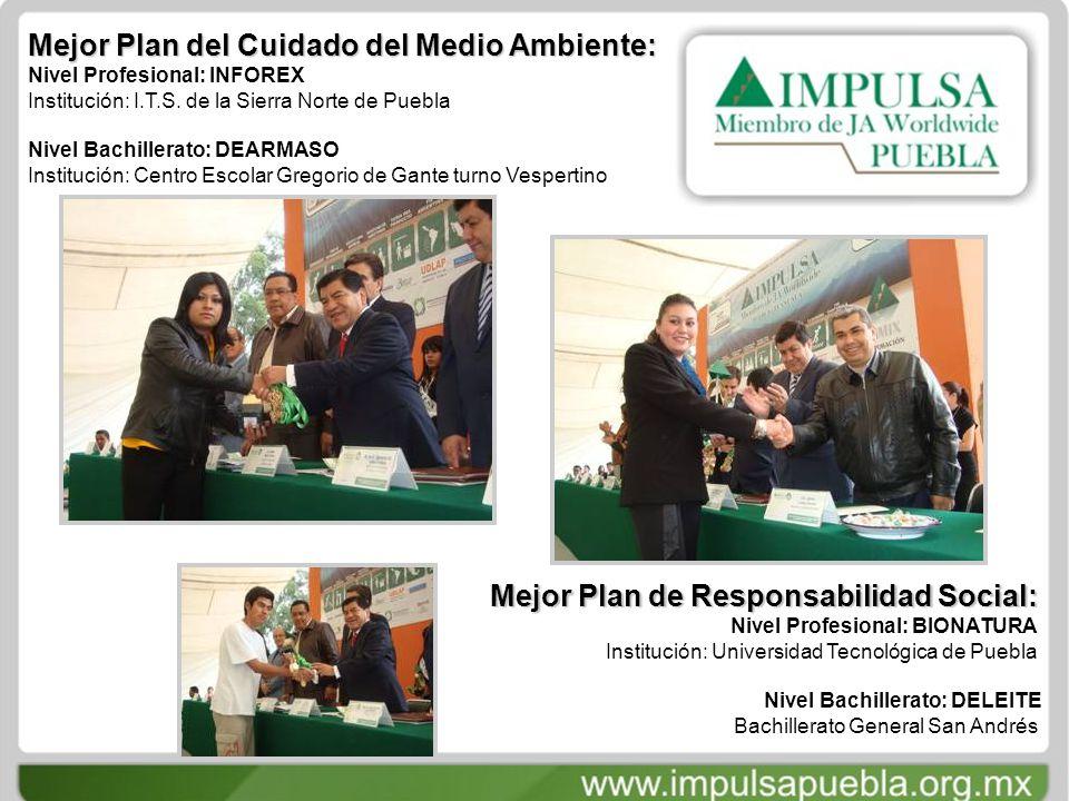 Mejor Plan del Cuidado del Medio Ambiente: Nivel Profesional: INFOREX Institución: I.T.S.