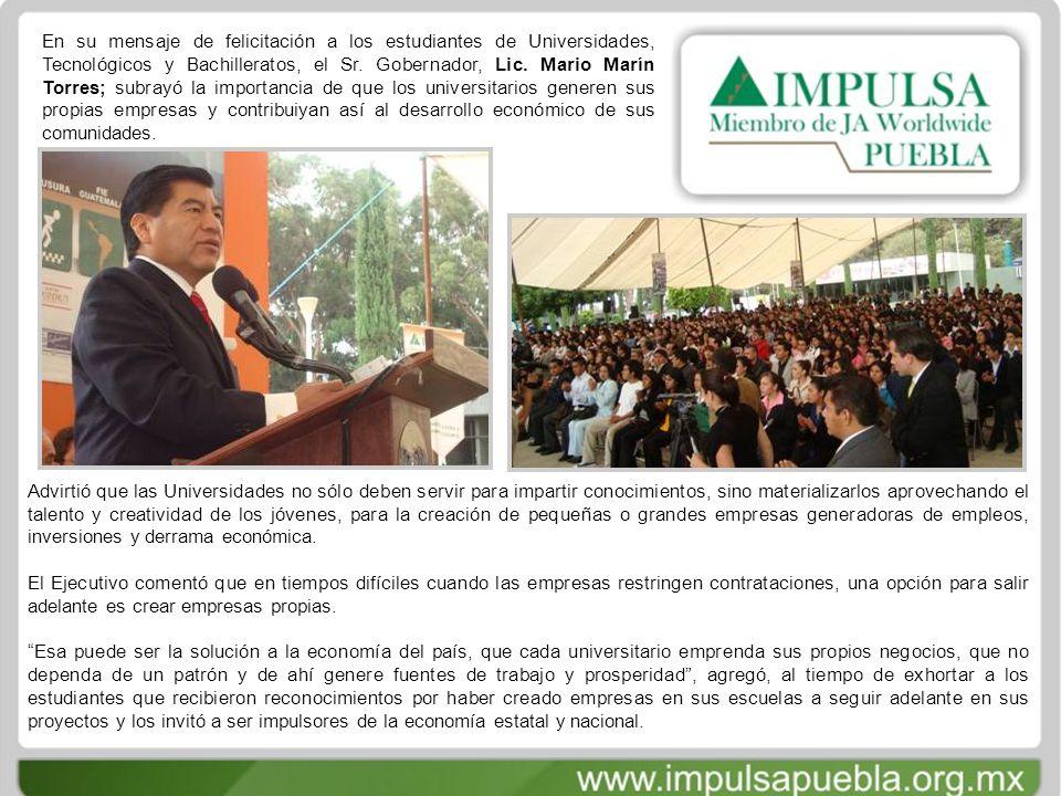 En su mensaje de felicitación a los estudiantes de Universidades, Tecnológicos y Bachilleratos, el Sr.