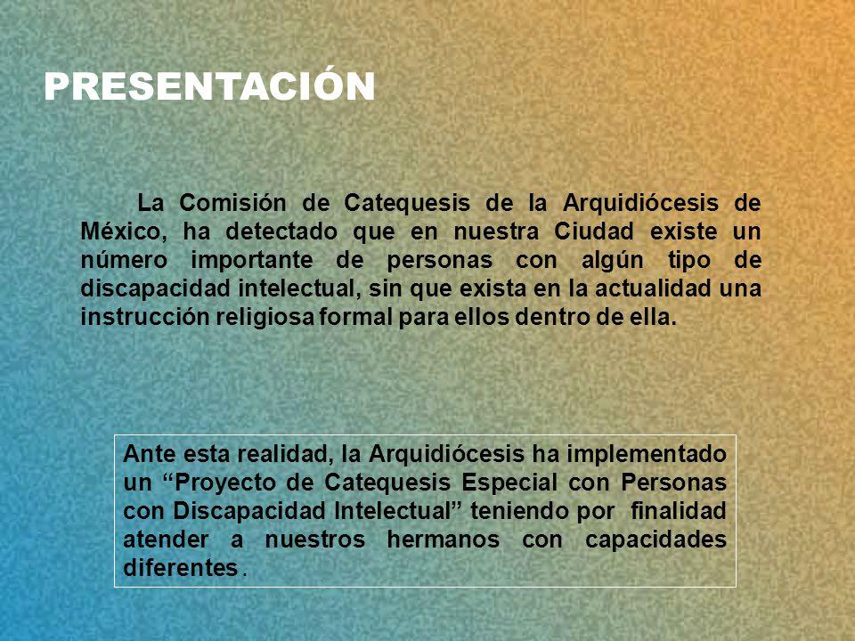 La Comisión de Catequesis de la Arquidiócesis de México, ha detectado que en nuestra Ciudad existe un número importante de personas con algún tipo de discapacidad intelectual, sin que exista en la actualidad una instrucción religiosa formal para ellos dentro de ella.