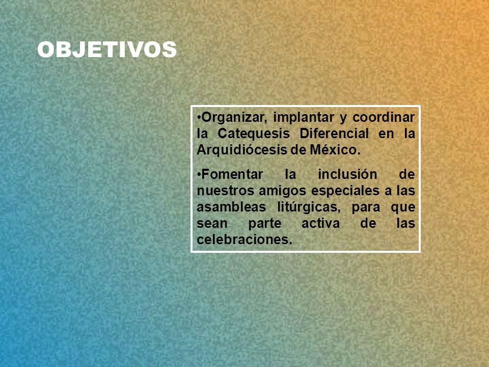 OBJETIVOS Organizar, implantar y coordinar la Catequesis Diferencial en la Arquidiócesis de México.