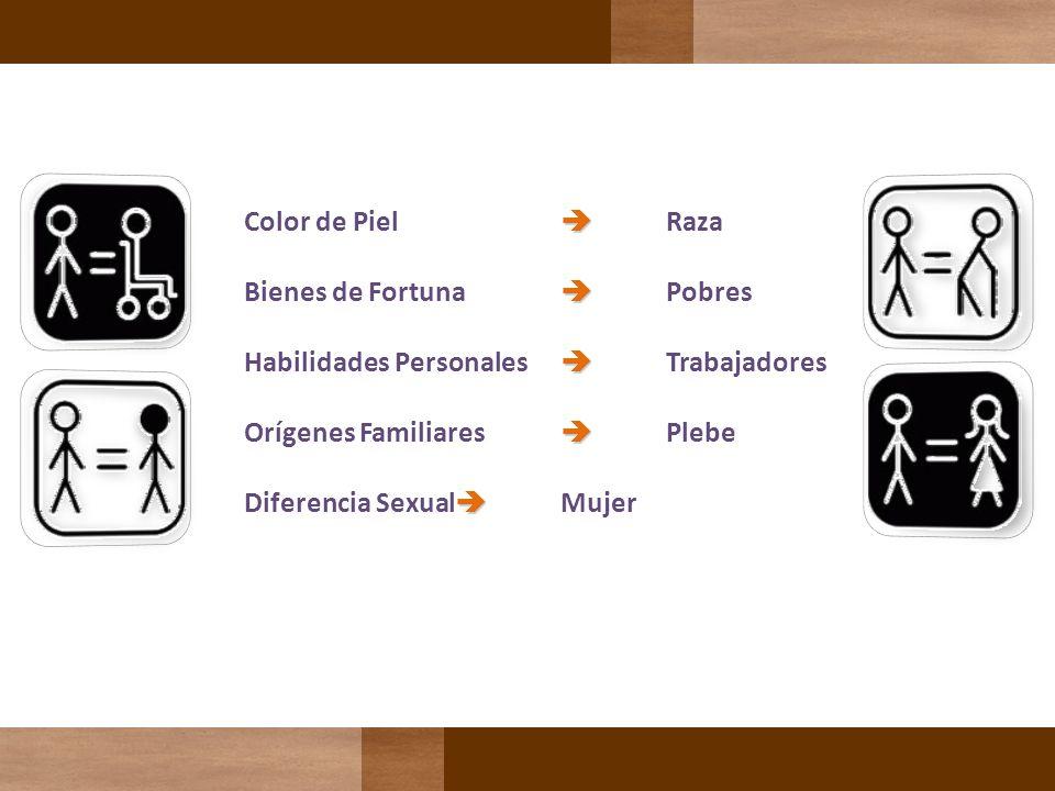 Color de Piel Raza Bienes de Fortuna Pobres Habilidades Personales Trabajadores Orígenes Familiares Plebe Diferencia Sexual Mujer