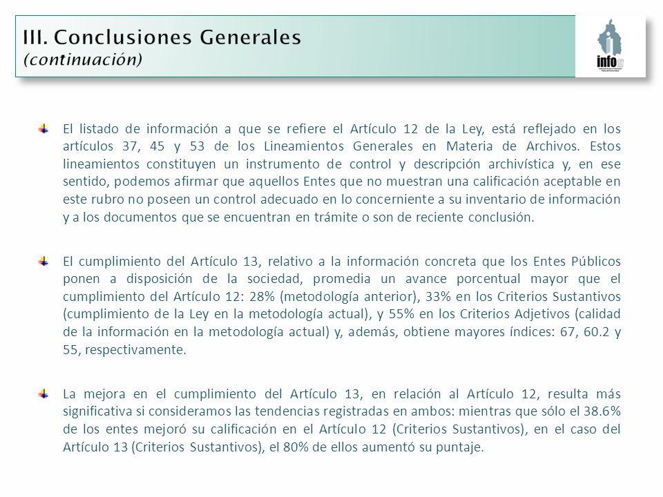 El listado de información a que se refiere el Artículo 12 de la Ley, está reflejado en los artículos 37, 45 y 53 de los Lineamientos Generales en Materia de Archivos.